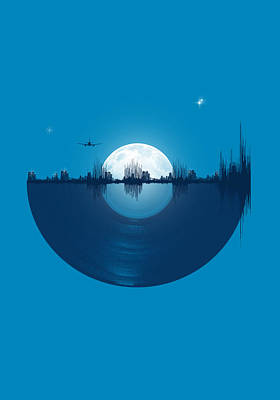 Light Blue Digital Art - City Tunes by Neelanjana  Bandyopadhyay