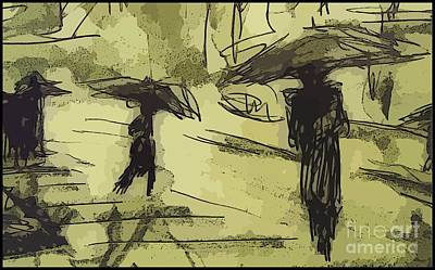 Cityscape.pencil Drawing - City Umbrellas by John Malone