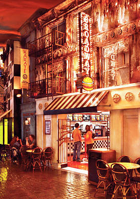 City - Vegas - Ny - Broadway Burger Art Print by Mike Savad