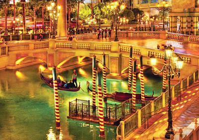 City - Vegas - Venetian - The Venetian At Night Art Print by Mike Savad