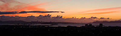 Alcatraz Photograph - City View At Dusk, Emeryville, Oakland by Panoramic Images