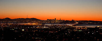 City View At Dusk, Oakland, San Art Print by Panoramic Images