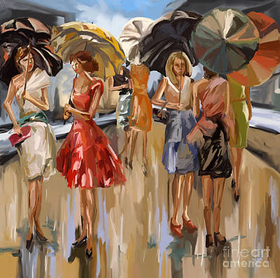 Painting - City Women In The Rain by Tim Gilliland