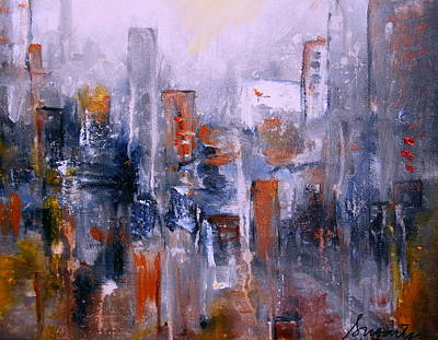 Painting - Cityscape Abstract by Pristine Cartera Turkus