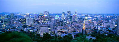 Montreal Buildings Photograph - Cityscape At Dusk, Montreal, Quebec by Panoramic Images