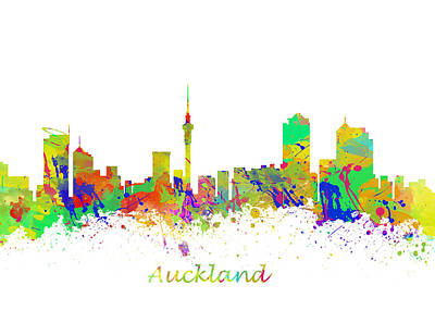 Typography Tees - Cityscape Auckland New Zealand  by Chris Smith