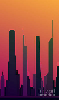 Abstract Skyline Wall Art - Digital Art - Cityscape Design Orange Version | Eps10 by Clickhere