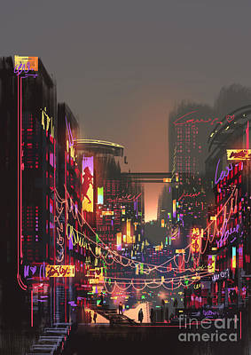 Light Digital Art - Cityscape Digital Painting Of Building by Tithi Luadthong