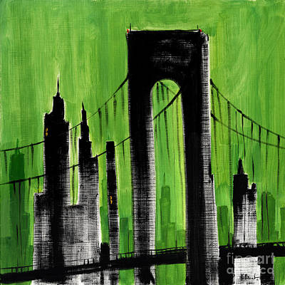 Empire State Building Painting - Cityscape Green by Paul Brent