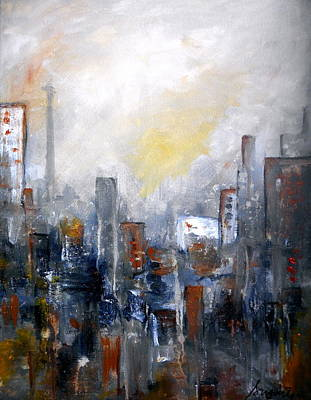 Painting - Cityscape II Abstract by Pristine Cartera Turkus