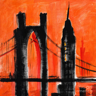 Empire State Building Painting - Cityscape Orange by Paul Brent