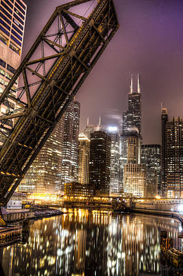 Photograph - Cityscape Reflection In Chicago River March 2014 by Michael  Bennett