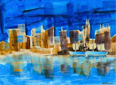 Painting - Cityscape by Vic Delnore