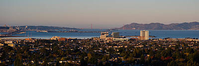 Alcatraz Photograph - Cityscape With Golden Gate Bridge by Panoramic Images