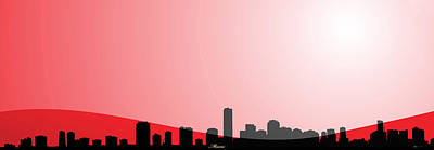 Cityscapes - Miami Skyline In Black On Red Original by Serge Averbukh