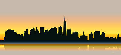 Cities Digital Art - Cityscapes - New York Skyline - Dawn by Serge Averbukh