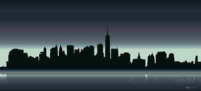 Cities Digital Art - Cityscapes - New York Skyline - Dusk by Serge Averbukh