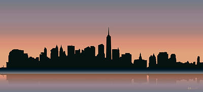 Digital Art - Cityscapes - New York Skyline - Sunset by Serge Averbukh
