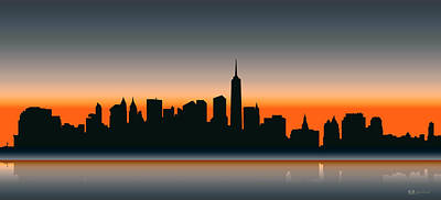 Digital Art - Cityscapes - New York Skyline - Twilight by Serge Averbukh