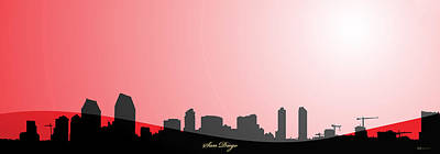 Digital Art - Cityscapes - San Diego Skyline In Black On Red by Serge Averbukh