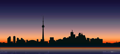 Digital Art - Cityscapes - Toronto Skyline - Dusk by Serge Averbukh