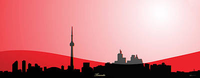 Cityscapes - Toronto Skyline In Black On Red Original by Serge Averbukh