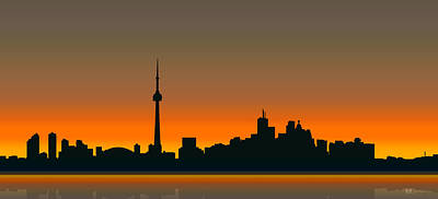 Digital Art - Cityscapes - Toronto Skyline - Twilight by Serge Averbukh