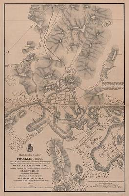 Map Of Tennessee Drawing - Civil War Battlefield In Front Of Franklin Tennessee by Cody Cookston
