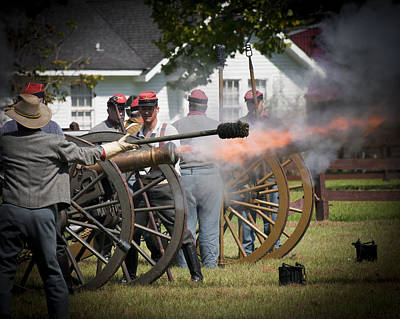Art Print featuring the photograph Civil War Cannon Fire by Ray Devlin