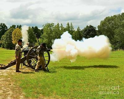 Civil War Canon Firing  Art Print by Bob Sample