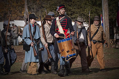 Photograph - Civil War Confederate Troop Reenactors Marching With Drummer by Randall Nyhof