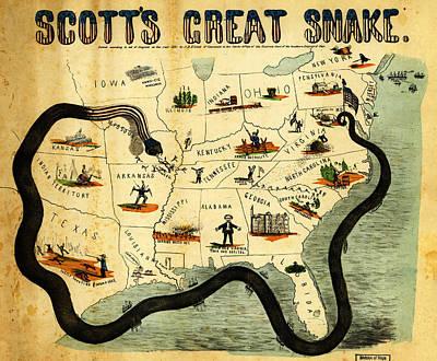 Revolutionary War Art - Civil War Map Scott s Great Snake 1861 by MotionAge Designs