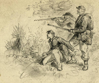Infantryman Drawing - Civil War Sharpshooters by Granger