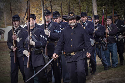 Photograph - Civil War Union Troop Reenactors Marching by Randall Nyhof