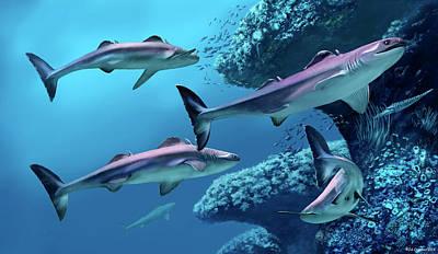 Cladoselache Sharks Art Print by Jaime Chirinos