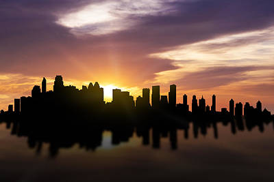 Calgary Sunset Skyline  Art Print by Aged Pixel