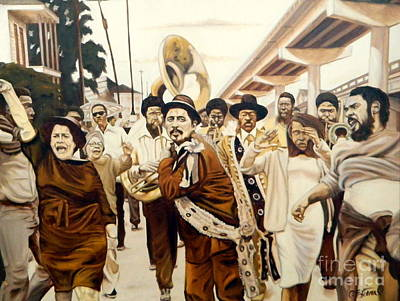 Painting - Claiborne Avenue Second Line by Clifford Etienne