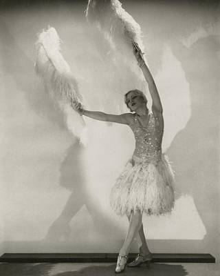 Embellished Photograph - Claire Luce Holding Ostrich Feathers by Edward Steichen