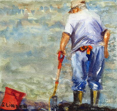 Old Man And The Sea Painting - Clamdigger by Sandy Linden