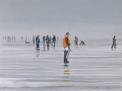 Razor Clams Wall Art - Painting - Clamdiggers In The Fog by Carol Thompson