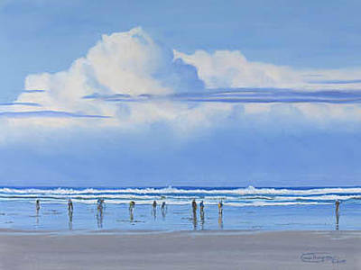 Razor Clams Wall Art - Painting - Clamming Weather by Carol Thompson
