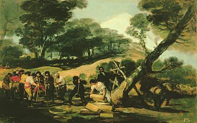 Clandestine Manufacture Of Gunpowder, 1812-13 Oil On Canvas Art Print by Francisco Jose de Goya y Lucientes