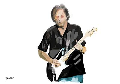 Slowhand Digital Art - Clapton by Bob Donner