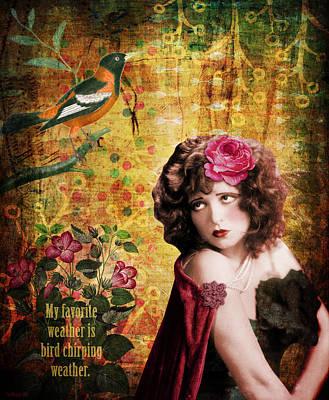 Clara Bow And The Bird Art Print by Cat Whipple