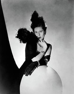 1930s Fashion Photograph - Clare Boothe Luce Wearing Feathers by Horst P. Horst
