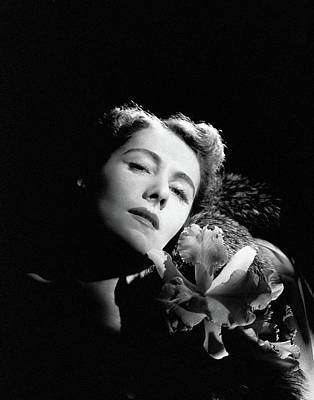 Photograph - Clare Boothe Luce With An Orchid by Horst P. Horst