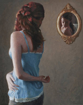 Wood Necklace Painting - Clare In Mirror by Charles Pompilius