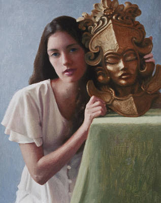Chichen Itza Painting - Clare With Mask by Charles Pompilius