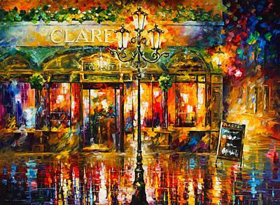 Clarens Misty Cafe Art Print by Leonid Afremov
