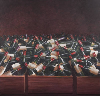 Wine Bottle Painting - Claret Tasting by Lincoln Seligman